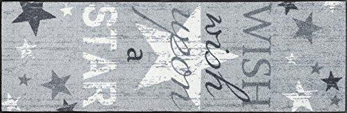 """Sehr hochwertiger Küchenläufer Größe ca. 60 x 180 cm / Küchenmatte Stern grau / Dekoläufer für Küche und Bar / Teppich Läufer Küche / waschbare Küchenläufer / Küchendeko Modell ,,COOKING & WASH Wish Upon A Star """" Größe ca. 60 x 180 cm / Hergestellt in Europa, 5 Jahre Qualitätsgarantie Maschinenwaschbar bis 60° C, trocknergeeignet bis 90° C Öko-Tex®Standard 100, fußbodenheizungsgeeignet, PVC-frei"""