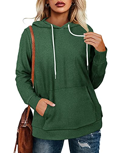 Womens Hoodies Pullover Long Sleeve Trendy Tops Solid Color Basic Fall Clothes Green Large
