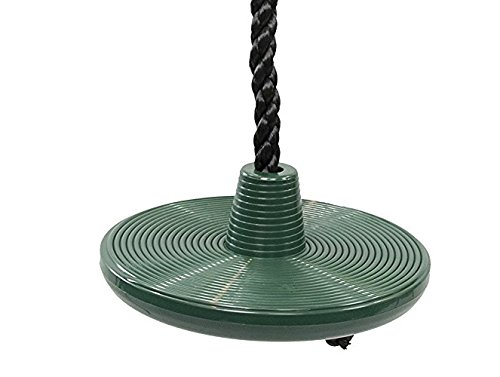 Squirrel Products Heavy Duty Plastic Tree Swing - Disc Rope Swing with Leg Protectors - Additions & Replacements - Outdoor Play Equipment - Green