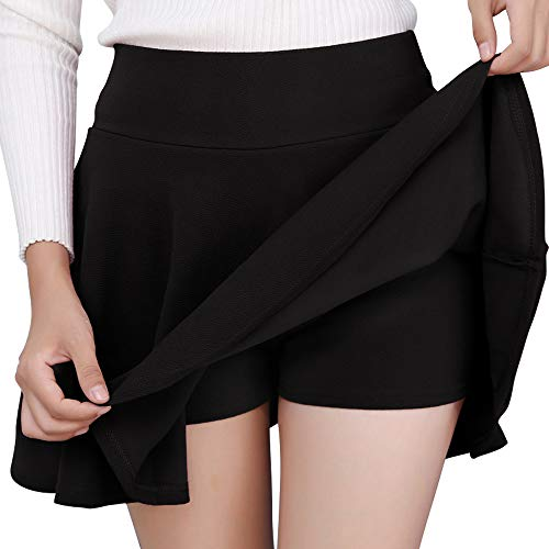 DJT FASHION Women's Casual Mini Flared Pleated Skater Skirt with Shorts XX-Large Black