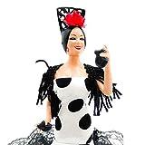 Folk Artesanía Muñeca 20 cm andaluza o Flamenca Vestido con Cola. Similar Marin Dolls. Fabricado en España Edición Limitada (Blanco Lunar Negro)