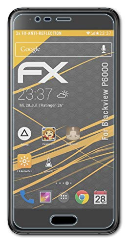 atFolix Panzerfolie kompatibel mit Blackview P6000 Schutzfolie, entspiegelnde & stoßdämpfende FX Folie (3X)