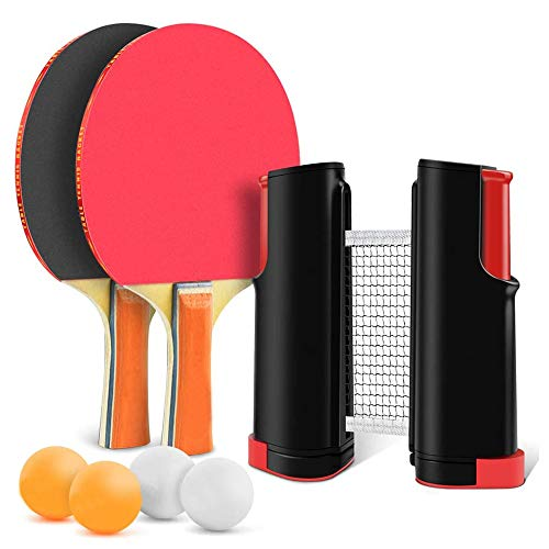 Find Discount YZU Table Tennis Set with Carry Bag, Comfy Handle, Professional Ping Pong Racket Paddl...