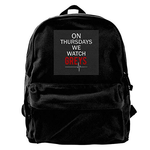 maichengxuan Canvas Backpack Thursdays We Watch Greys Anatomy Rucksack Gym Hiking Laptop Shoulder Bag Daypack for Men Women