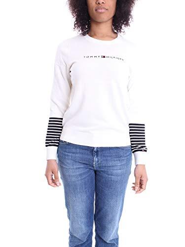 Tommy Hilfiger Damen Jenah Graphic C-nk SWTR Sweatshirt, Weiß (White YBL), 75 (Herstellergröße: Medium)