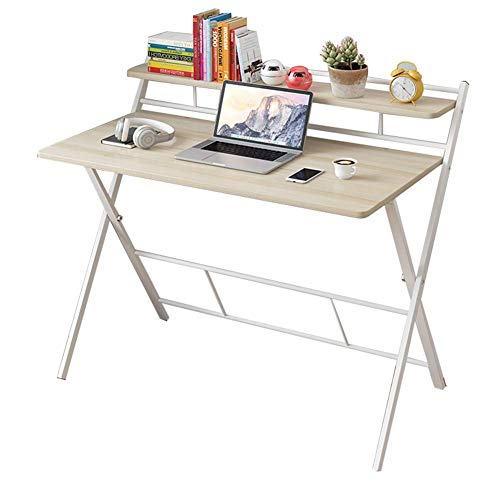NMDD Multipurpose Computer Desk,Folding PC Desk with Shelves Storage,Home Office Laptop Table,Study Writing Desk,Standing Desk Double Maple. 104x50x93cm