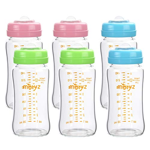 Matyz Glass Breastmilk Storage Bottles, 6 Pack, 8 oz, Compatible With Spectra Medela Breast Pump - Freezer Safe Storage Bottles Set - Wide Mouth Breastmilk Storage Containers - BPA Free (3 Color Lids)