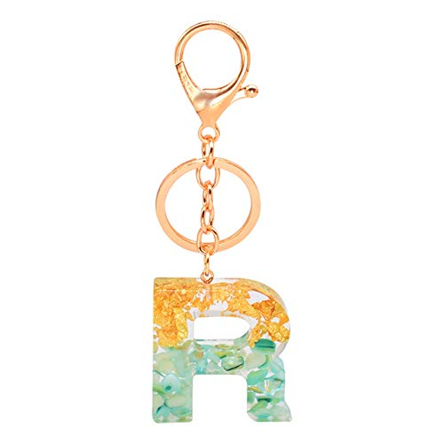 jsobh Keychains Cute Acrylic Keychains 26 English Letter Pendant Key Chain Ring Charm Glitter Keyring Bag Gift Luxury Couple Jewelry Accessories Cartoons (Color : R)