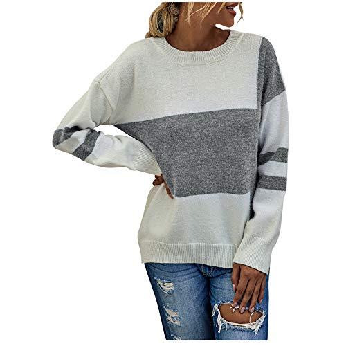 MasteriOne Langarmshirt Sweatshirt mit Streifen Pullover Casual Shirt Rundhals Lose...