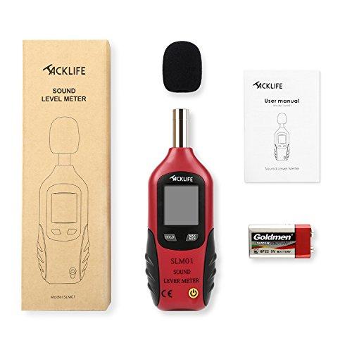Schallpegelmessgerät, Tacklife SLM01 Klassischer Schallpegelmesser, Lärm Messgerät Datenspeicherfunktion Abschaltautomatik 40~130 dB Rot, LCD-Anzeige, Hintergrundbeleuchtung - 7