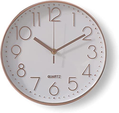 Delgeo Reloj de Pared Moderno,Grandes Decorativos Silencioso Interior Reloj de Cuarzo de Cuarzo Redondo No-Ticking para Sala de Estar,Panel Blanco Marco Oro Rosa, Funciona con Pilas,25 cm diámetro