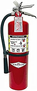 Amerex 10 Pound Stored Pressure ABC Dry Chemical 4A:80B:C Steel Multi-Purpose Fire Extinguisher For Class A, B And C Fires With Anodized Aluminum Valve, Wall Bracket, Hose And Nozzle