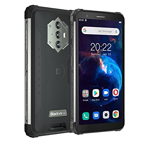 Blackview BV6600 Teléfono Movil Resistente, 8580mAh Batería, 4GB+64GB(SD 128GB) Octa-Core, Pantalla 5.7'HD+, 16MP+8MP Cámara,Android 10 Impermeable Smartphone,Dual SIM 4G,Carga Inversa,NFC,Tipo C,GPS