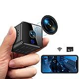 Mini Kamera, Full HD 1080P Tragbare Kleine WLAN Überwachungskamera mit Bewegungserkennung & Infrarot Nachtsicht Compact Sicherheit Kamera für Innen & Aussen mit Einer 32G SD-Karte