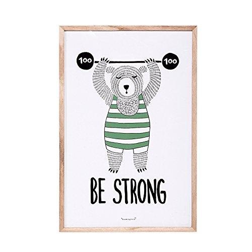 "Bloomingville Wanddekoration mit Holzrahmen ""Be Strong Bear"""