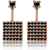 LifeTree Square S925 Sterling Silver Rose Gold Stud Earrings with Black/White Cubic Zircon Dangle Jewelry for Girls and Women(Black)