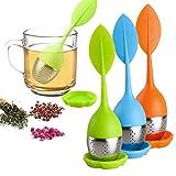 Infusor de té de hojas sueltas, con mango de silicona, colador de acero inoxidable para tetera, taza – té suelto – Difusor de té para té suelto, té de hierbas, juego de 3 – verde/azul/naranja