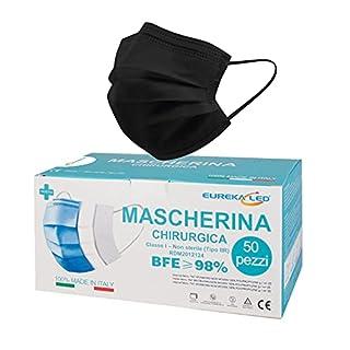 scheda 50 mascherine chirurgiche nere - made in italy - tipo iir bfe 98% certificae