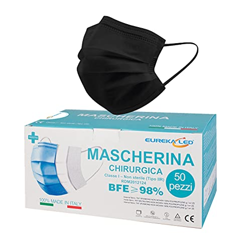 50 Mascherine chirurgiche Nere - Made in Italy - Tipo IIR...