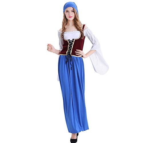 Shinehua Dames Traditioneel Beierse Oktoberfest Carnaval kostuum Mini Dirndl 3-delig blauw met bijpassende blouse en schort Dienstmeisje carnaval Halloween sprookje kostuum