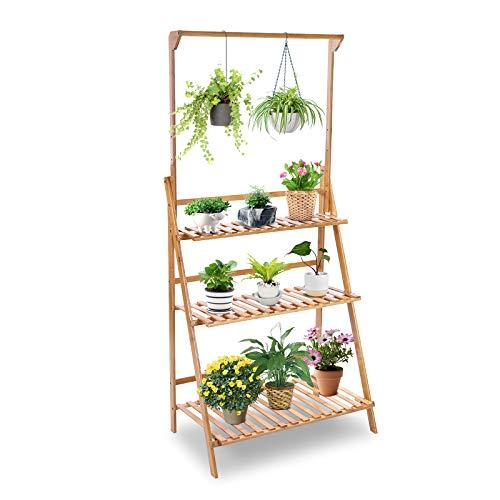 Cocoarm Multifunktionales mehrschichtiges Blumenregal Pflanzentreppe aus Bambus für mehr Pflanzen und Blumenampel, für Innen-Balkon Wohzimmer Outdoor Garten Dekor 68.5 x 40 x 96cm