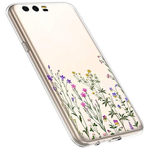 MoreChioce kompatibel mit Huawei Honor 9 Hülle,Huawei Honor 9 Handyhülle Blume,Ultra Dünn Transparent Weiche Silikon Schutzhülle Clear Crystal Rückschale Tasche Defender Bumper,Blumenzweig #14