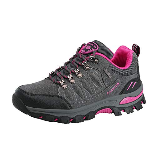 Xmiral Outdoor-Wanderschuhe für Damen Outdoor-Schuhe rutschfeste, Verschleißfeste Wanderschuhe Reiseschuhe mit Dicken Sohlen(38,Grau)