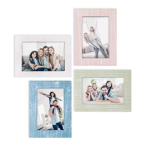 eletecpro 4x6 Picture Frames Set of 4 - Wooden Designs Wall Decor...