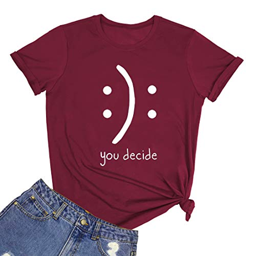 BLACKMYTH Women's Cute Graphic T Shirts Funny Tops Casual Tees Wine Red Large