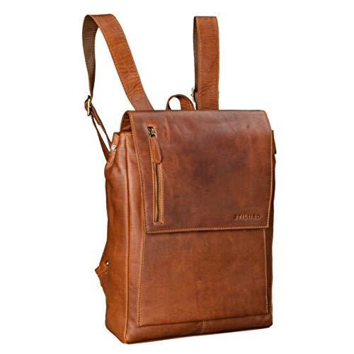 STILORD \'Simon\' Daypack Rucksack Leder Herren Damen Vintage Rucksackhandtasche groß Lederrucksack für Business Uni Schule A4 13 Zoll MacBook echtes Büffelleder, Farbe:Cognac - braun