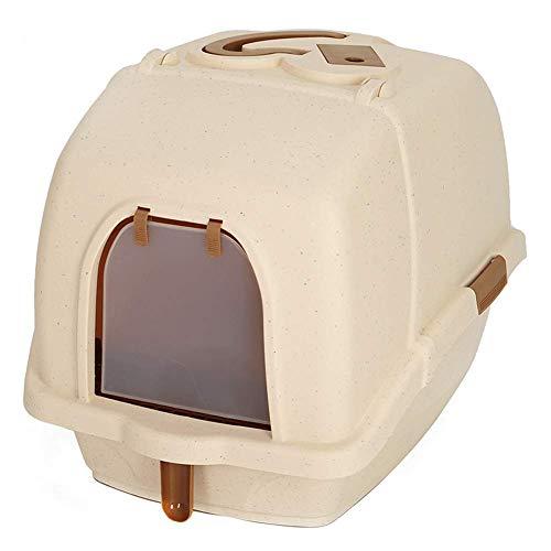 GBY Cat toiletfilter, kattenbakje extra groot, volledig gesloten anti-spatten deodorant cat toilet, geschikt voor katten binnen 10kg, kaki, 58 * 44 * 42cm