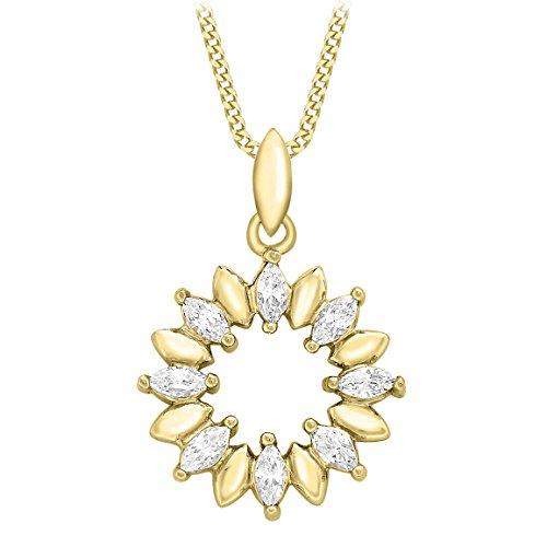Carissima Gold Collana con Pendente da Donna in Oro Giallo 9K (375) con Zirconio Cubico, 46 cm