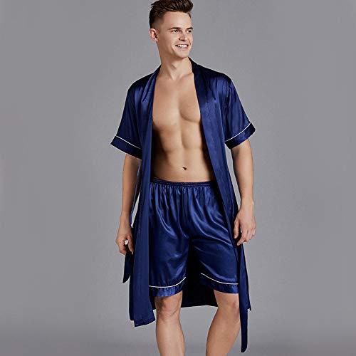 SleepWears Nachtkleding pyjama mannen Lente En Zomer Losse Grote Maat Zijde Mannen Nachtjapon Badjas Shorts Kleding Thuis Service