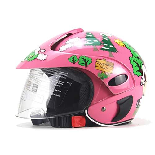 SULUO Casco de Motocicleta para niños, Medio Casco de Motocross, Casco Deportivo Ligero y Seguro para Proteger eficazmente la Cabeza, Adecuado para niños de 2 a 8 años, niños y niñas,Rojo