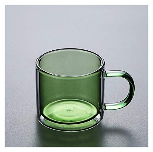 YJLLOVE YANGJIAOLIAN 250 ml Copas de Vino Bebiendo Vaso Whisky Vodka Taza de café Jugo de café Taza Taza Creativa Taza de Vidrio Doble Tazas para el hogar (Color : Green 250ml)