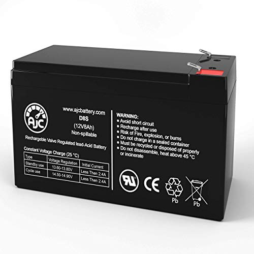 AJC Battery Compatible with Duracell DURA12-8F 12V 8Ah Sealed Lead Acid Battery