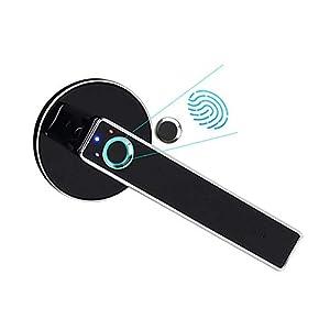 Fingerprint Door Lock, Smart Door Lock, Home Security Door Lock, Smart Electronic Bedroom Wooden Door Office Room Door for Office & Home (Silver) (1 Pack)