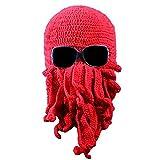 Gorro Tejido Beanie Unisex Tentacle Octopus Beanie Gorro Wind Cap Stretch Crochet Hat-Red