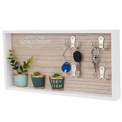 QILICZ Schlüsselkasten Wandhalterung Schlüsselhalter aus Holz Schlüsselbox mit 4 Doppelhaken Schlüsselhaken, Schlüsselleiste Schlüsselboard zum aufhängen oder aufstellen