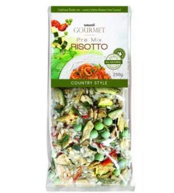 Belladotti Pre Mix Risotto Country Style 250G - Hecho con Arroz Arborio Real Italiano, stock natural y verduras de campo (calabacín, zanahorias, guisantes, ajo y hierbas