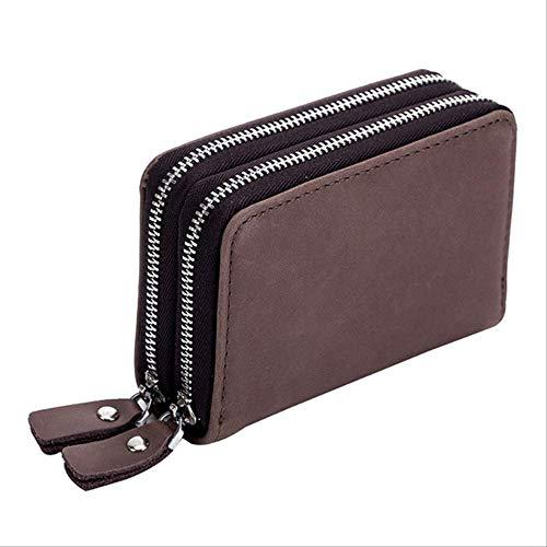 LLOOMMB Schlüsselbund Kreditkartenetui Echte Frauen Business ID Buskartenhalter Männer Schlüssel Autoschlüsseltasche Münzgeldbörse Brieftasche HaushälterinKaffee