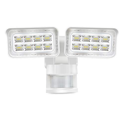 SOLLA LED Strahler mit Bewegungsmelder 180° Weitwinkel Doppelsensorkopf PIR Außenstrahler, 2500LM 5000K 2 Köpfe LED Flutlicht für Garten Einfahrt Haustür Wand Garage (28W LED-Sicherheitslicht)