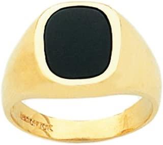 Men's 14k Yellow or White Gold Genuine Black Onyx Open Back Ring