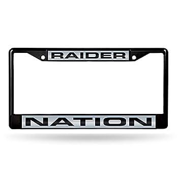 Rico Industries NFL Las Vegas Raiders Laser Cut Inlaid Standard Chrome License Plate Frame  6 x 12.25