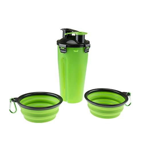 2in1 Portable Dog Water Bottle with Silicone Collapsible Pet Food Bowls for Walking Hiking Camping Travel and Other Outdoor Activities Green