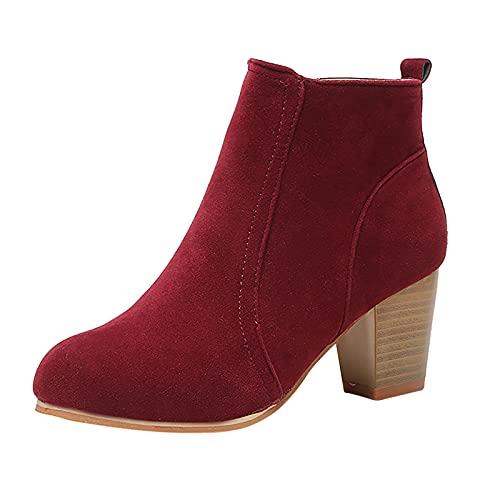 Fullwei Wedge Booties for Women,Women Round Toe Ankle Boot Ladies Cute Chunky Heel Zipper Slip On Boot Causal Walking Dress Shoe (Red, 7.5)