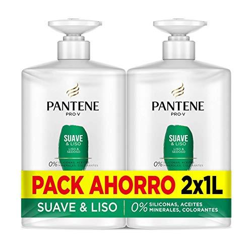 Pantene Champu, Suave Y Liso, Antiencrespamiento Cabello, 2 x 1 litro, Como Vitaminas Para El Cabello, Sin Siliconas