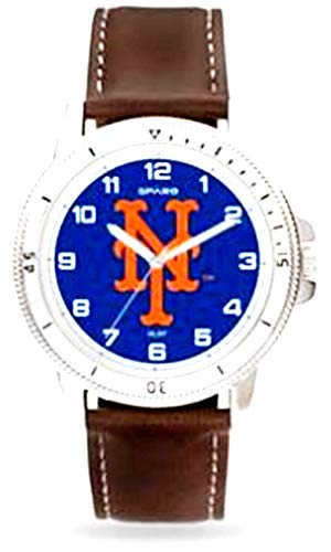 Mets Premium Classic Logo Mens Watch Brown Leather Band Baseball