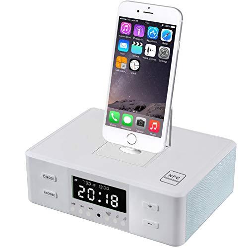 DZHTWSRYGR Cargador inalámbrico Altavoz Bluetooth Reloj Despertador NFC Radio FM Cargador Micro USB Dock Estación de teléfono Altavoz para iPhone Android