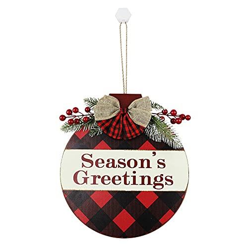 Ruipunuosi Navidad Decoraciones colgantes Bienvenido Signo para porche delantero Puerta de madera Rústico Percha de la Casa Perchero Frente Porche Decoraciones Guirnalda Navidad Colgante Signo